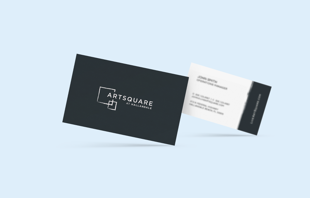 business cards, artsquare, artsquare at hallandale
