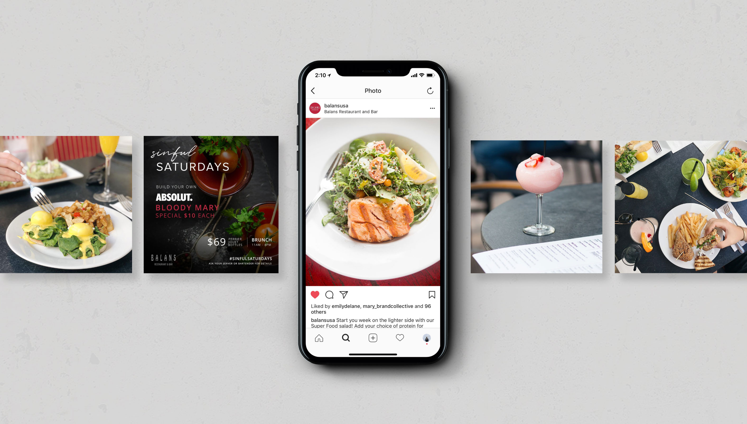 mockup of social media posts from balans restaurants